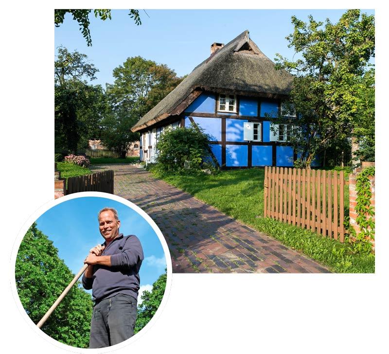 Im Hinterland der Insel gibt es noch die typischen reetgedeckten Häuser der Fischer und Bauern. Holger Labahn – der Dachdecker aus Usedom verwendet am liebsten heimisches Schilfrohr.