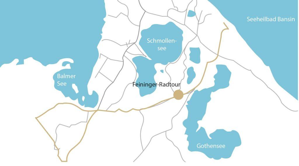 Die Lyonel-Feininger-Tour führt als Teilstrecke von Binz über Sallentin nach Benz, von dort weiter nach Neppermin, Balm und endet in Mellenthin.